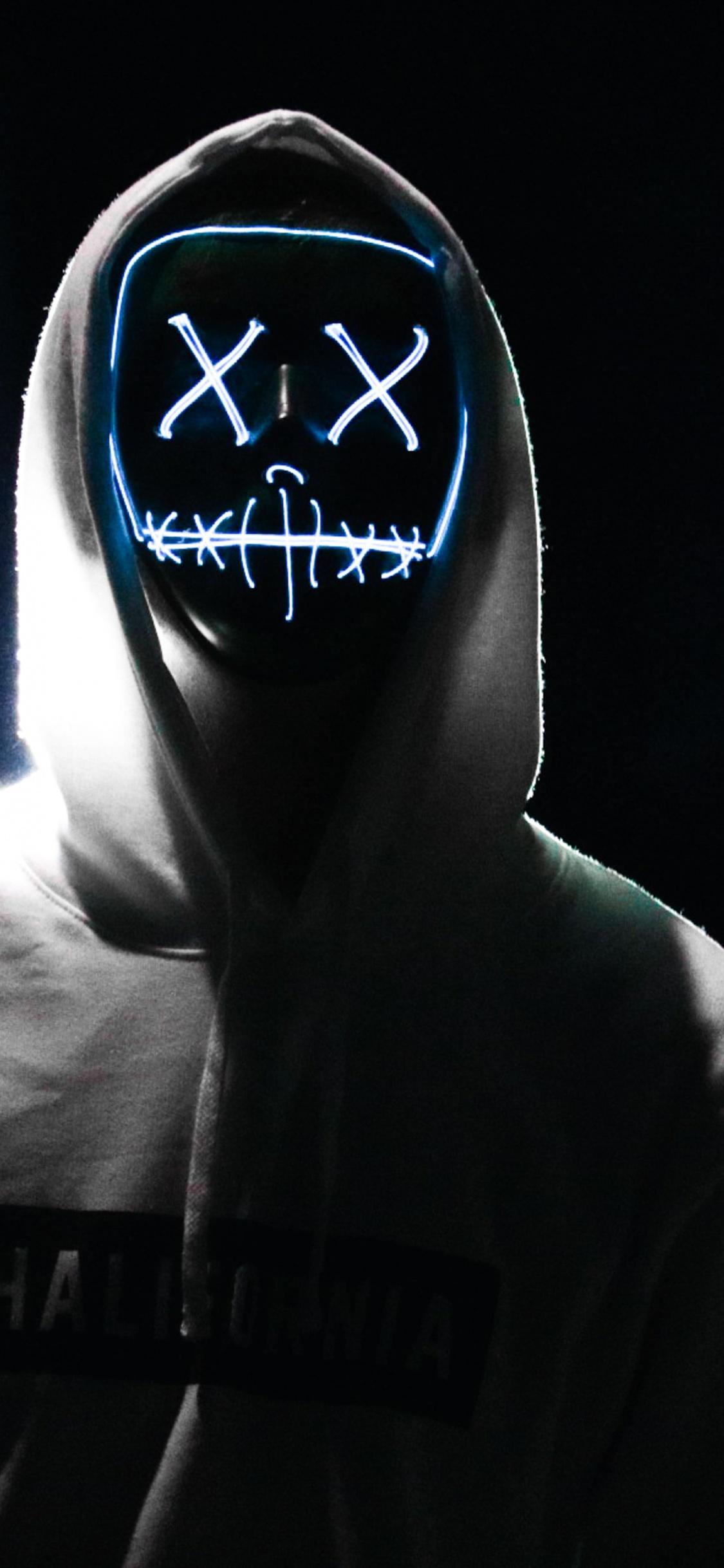 Man 4k Wallpaper Led Mask Dope Night Anonymous Hoodie Amoled Black Background 5k Photography 132
