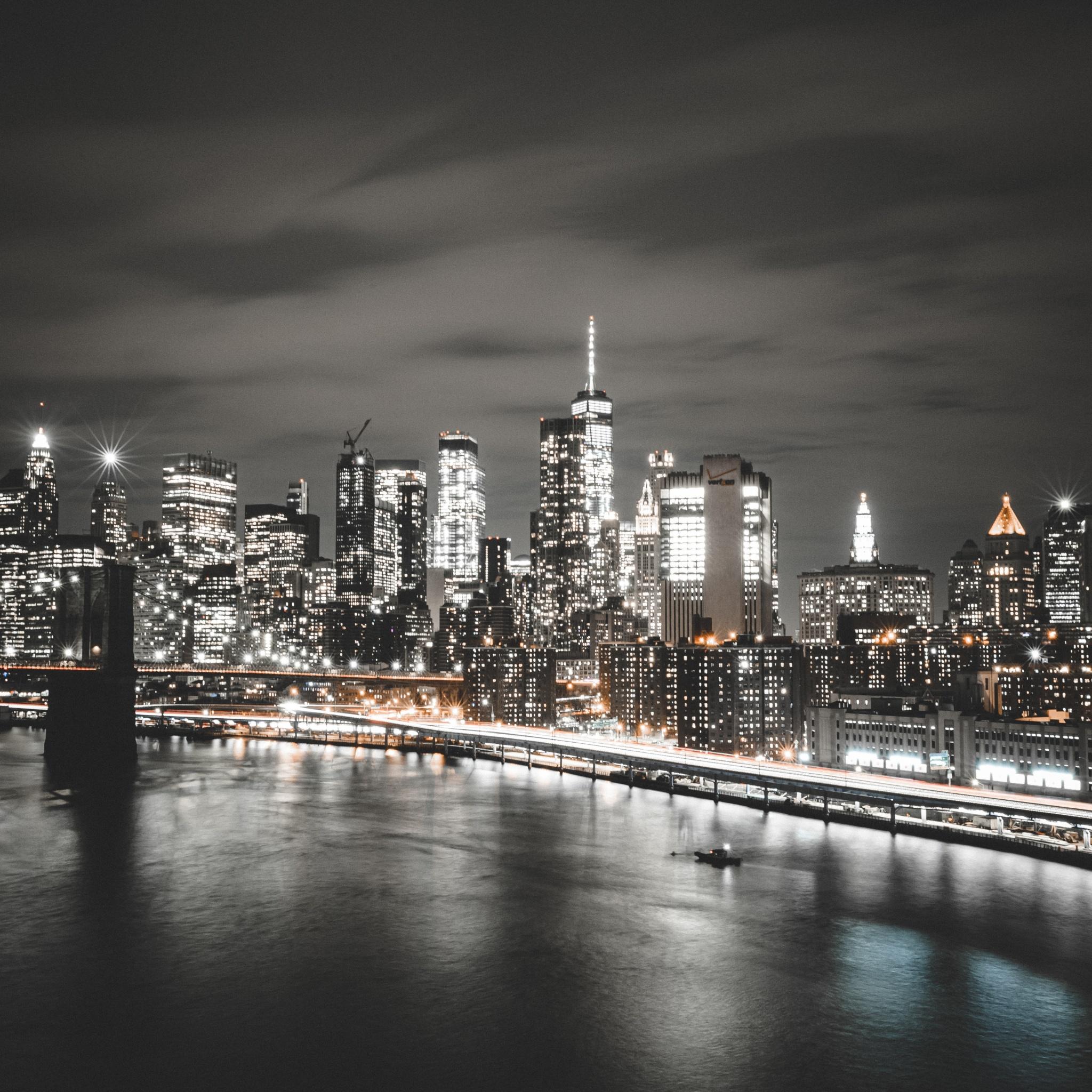 Manhattan Bridge 4K Wallpaper, Brooklyn, Cityscape, Night