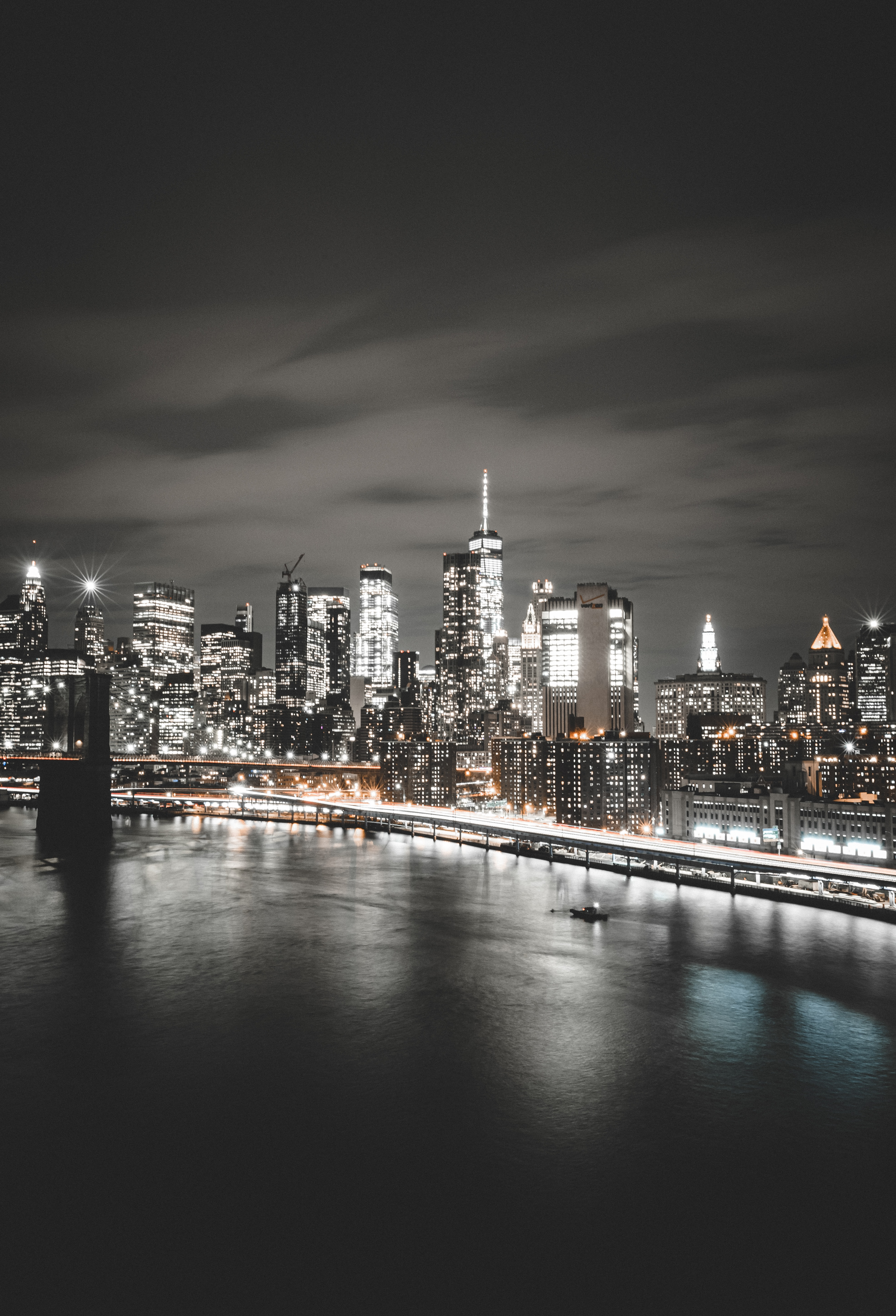 Manhattan Bridge 4K Wallpaper, Brooklyn, Cityscape, Night