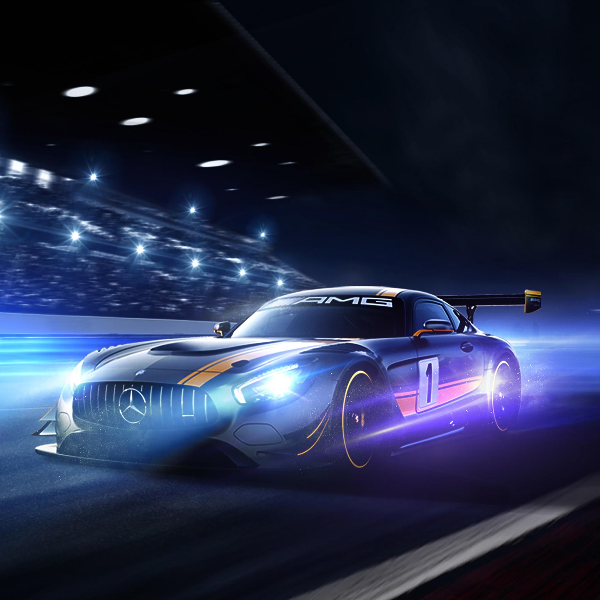 Ferrari F8 Tributo Spyder: Mercedes-AMG GT R 4K Wallpaper, Night, Racing Track, Cars, #97