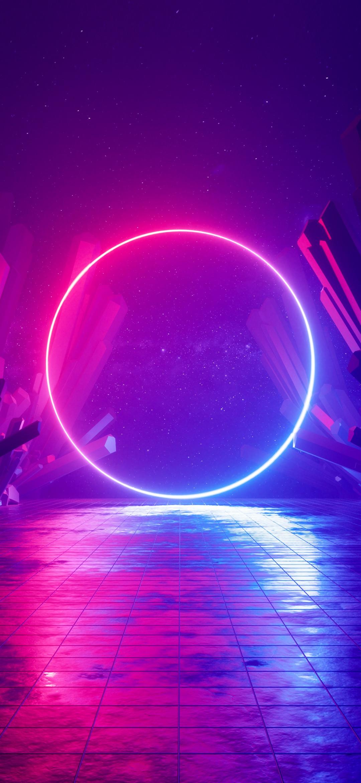 Neon light Wallpaper 4K Ring Huawei Mediapad Stock Sci