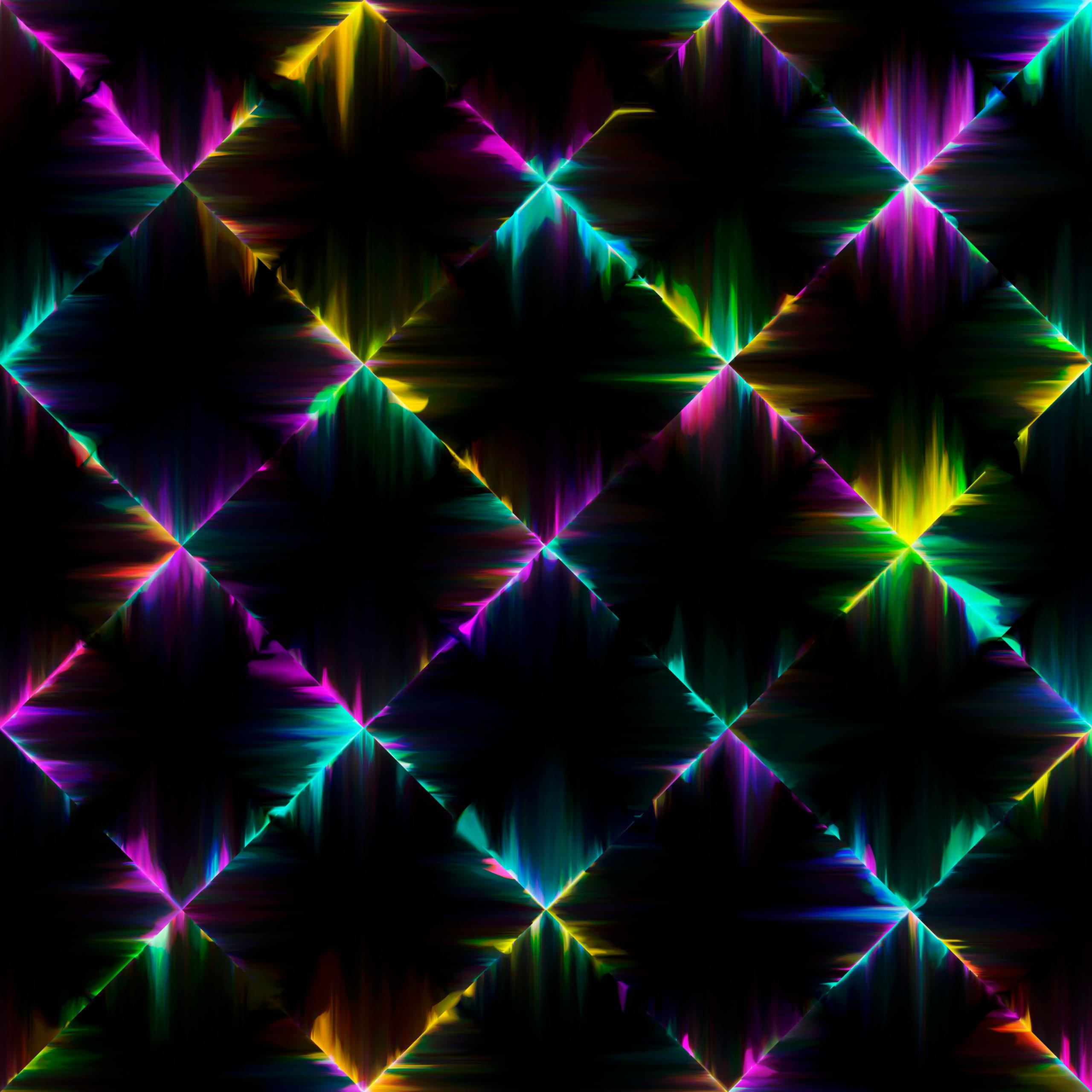 4K Wallpaper Neon Lights, Colorful, Black Background