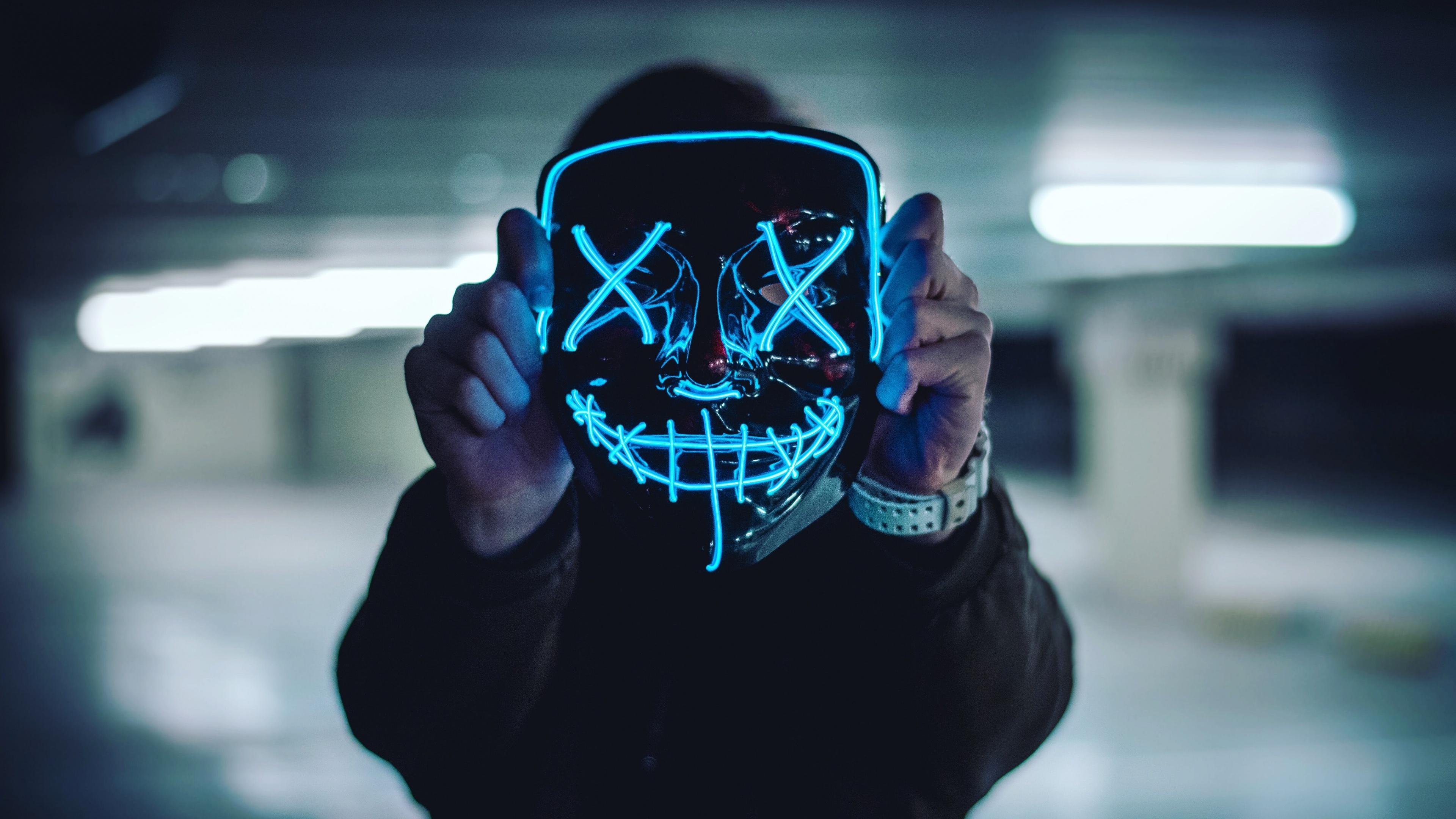 Neon Mask 4k Wallpaper Blue Lights Portrait Anonymous Face Mask Photography 2159