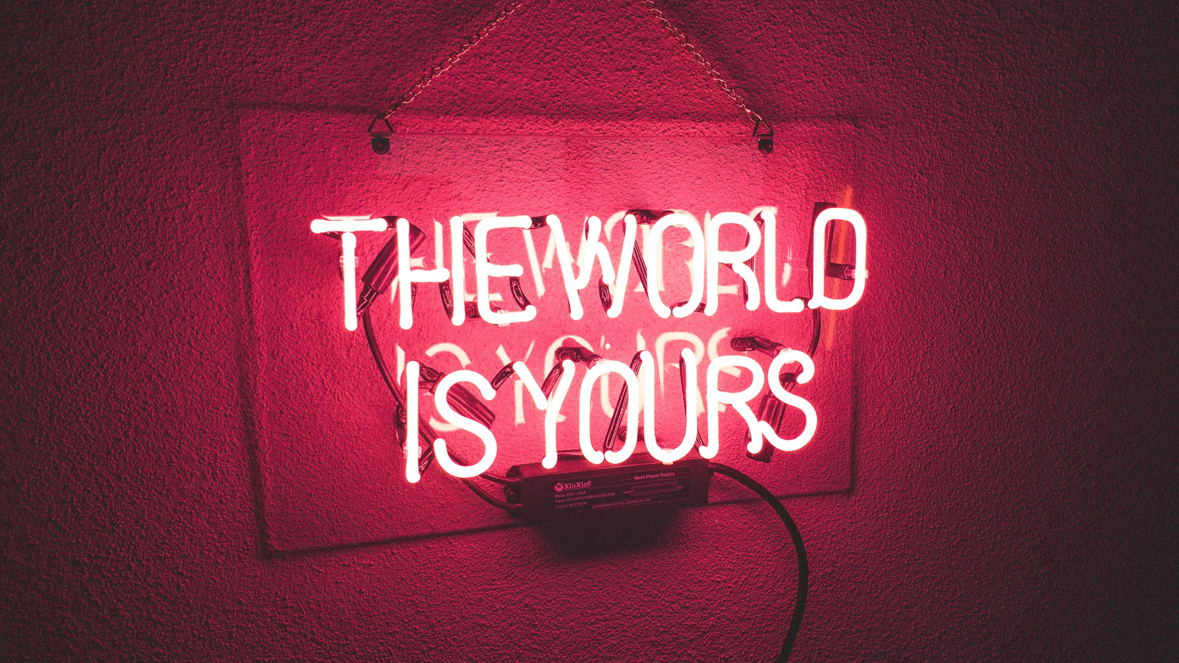 Neonlight 4k Wallpaper Red Background Neon Sign Glowing The World Is Yours Quotes 2149