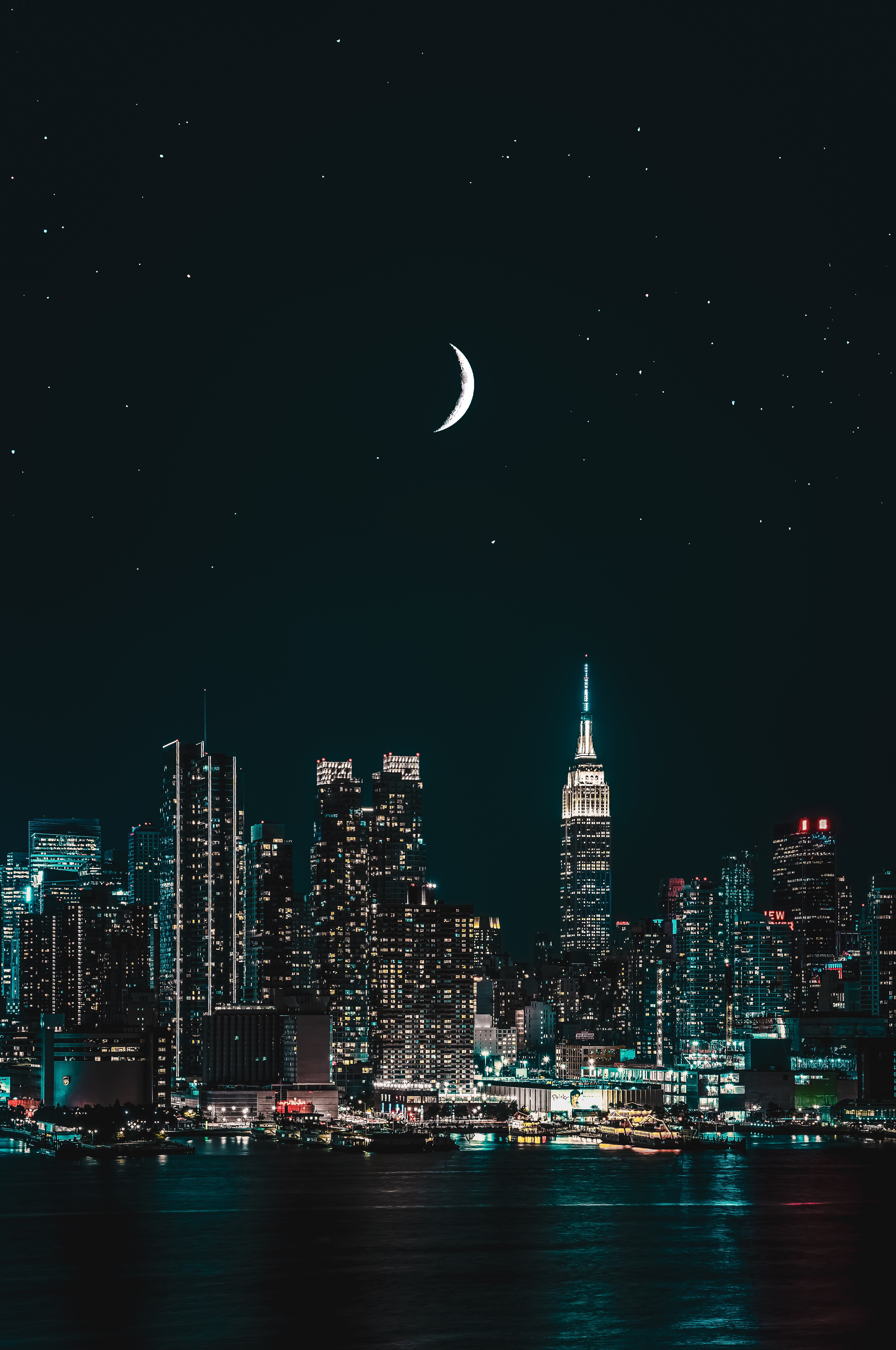 New York City 4k Wallpaper Cityscape Night City Lights Half Moon Starry Sky World 450