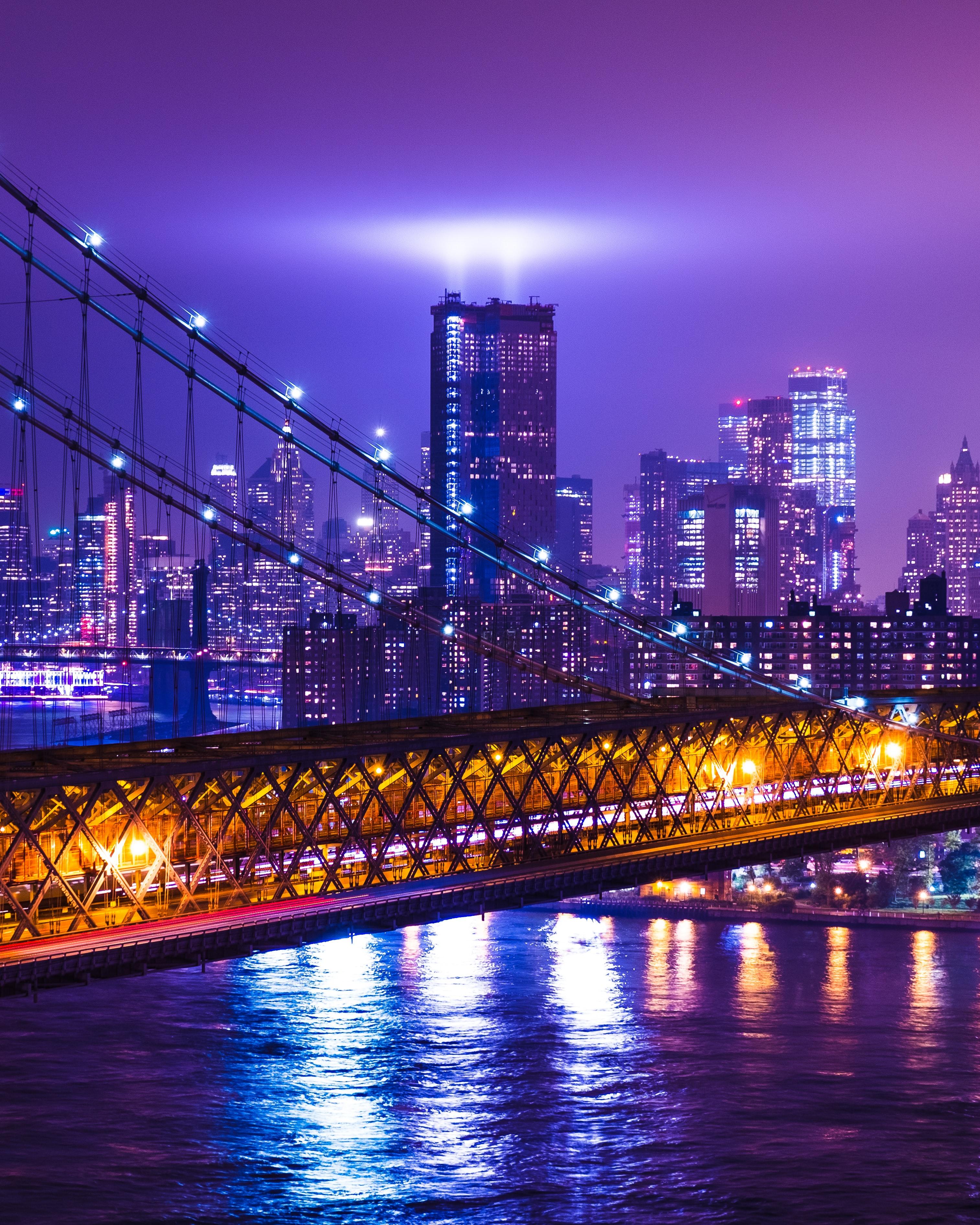 New York City 4K Wallpaper, Night, Cityscape, Purple, City ...