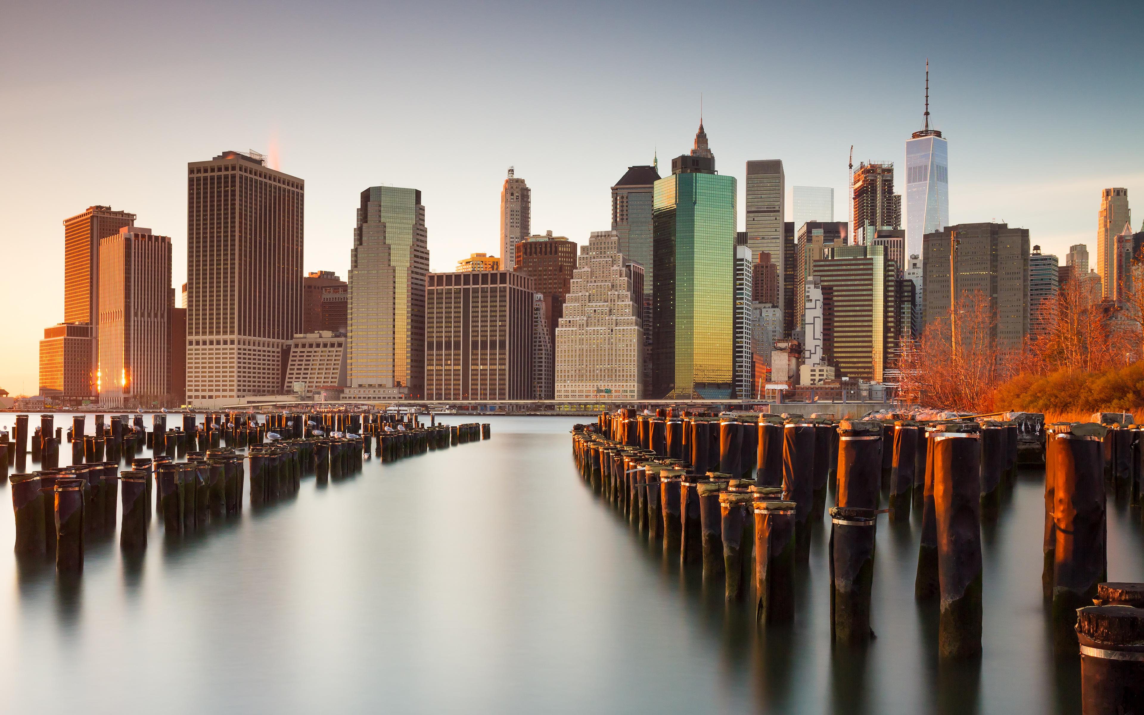 new york city skyline skyscrapers cityscape sunset evening 3840x2400 35