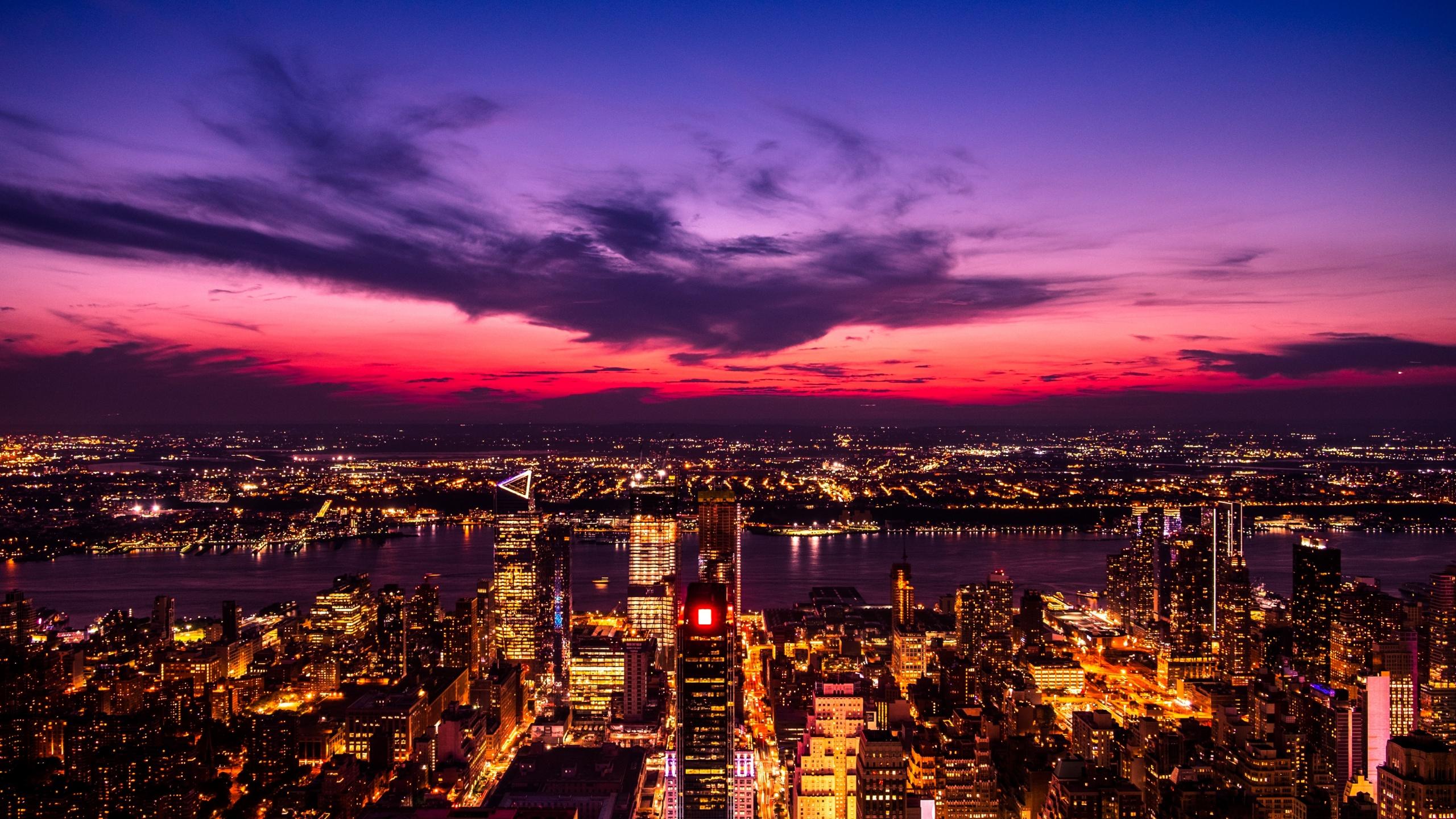 new york city twilight sunset cityscape city lights 5k 2560x1440 1543