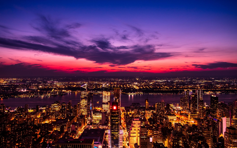 New York City 4K Wallpaper, Twilight, Sunset, Cityscape ...