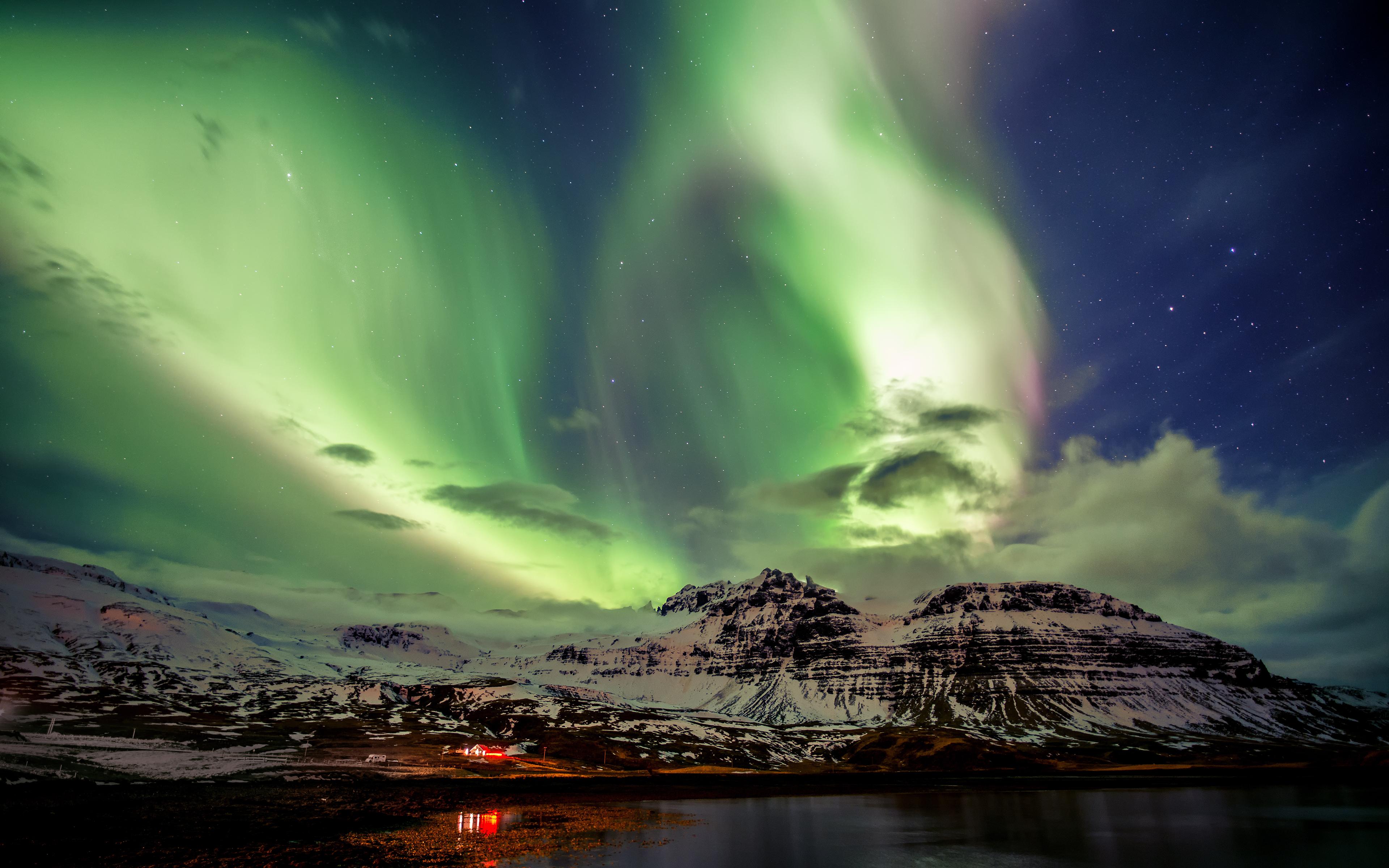 4k Wallpaper Northern Lights Aurora Borealis Iceland