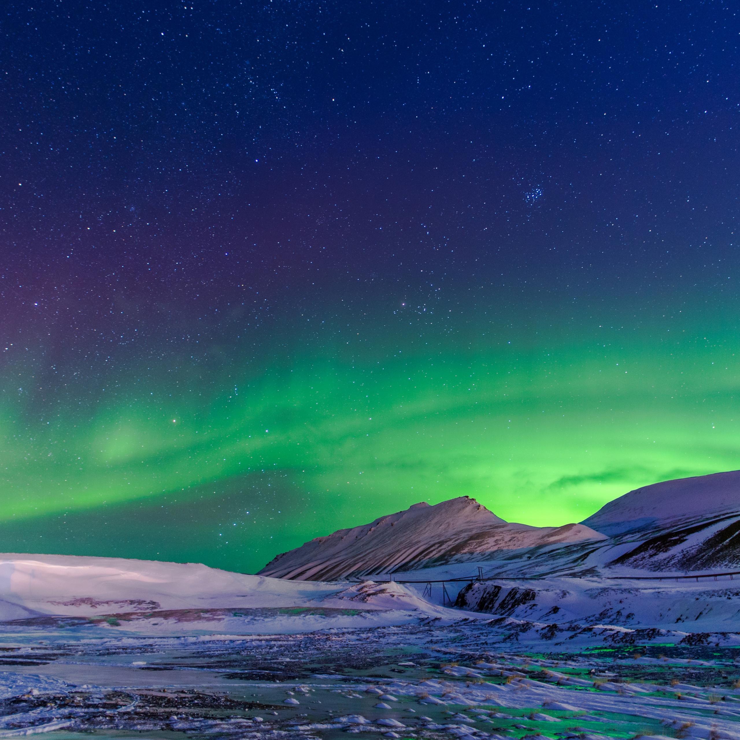 4K Wallpaper Northern Lights, Aurora Borealis, Winter
