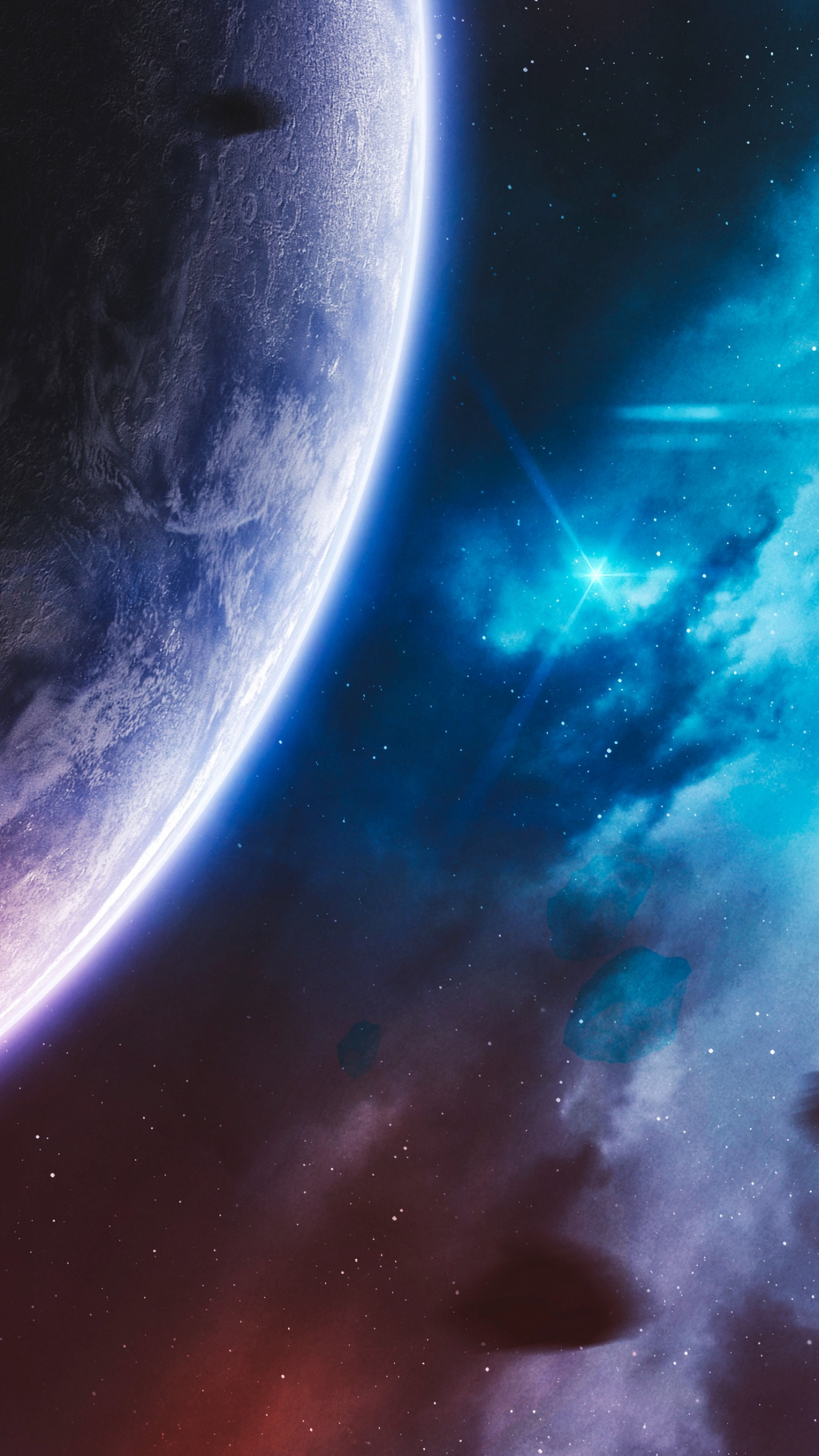 Purple Planet 4K Wallpaper Cosmos Stars Blue Galaxy