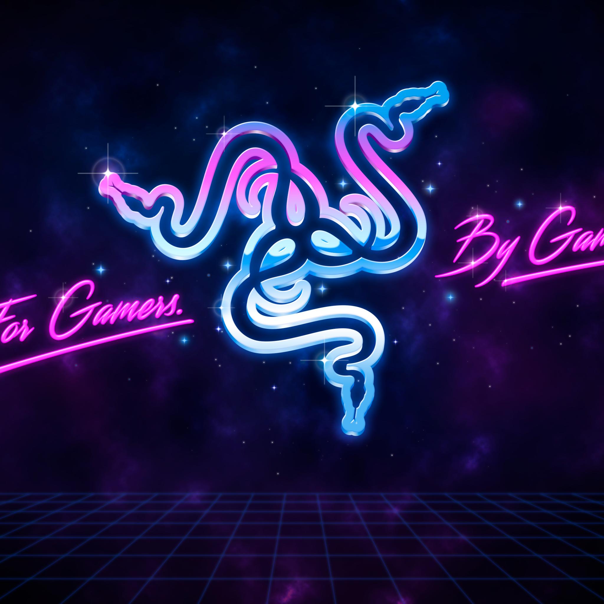 4K Wallpaper Razer, For Gamers By Gamers, Neon, Technology