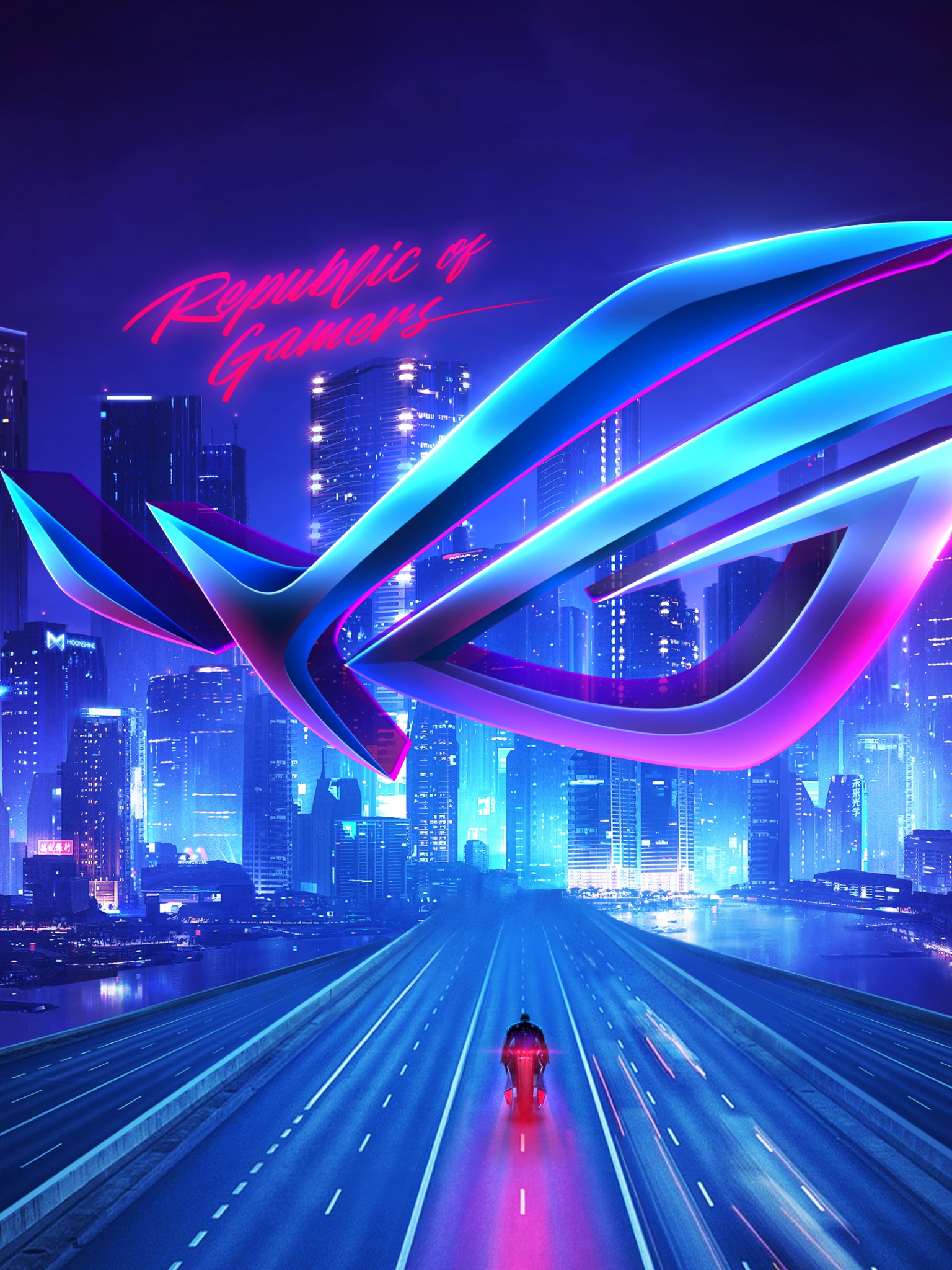 Republic Of Gamers 4k Wallpaper Asus Rog Cityscape Neon Technology 129