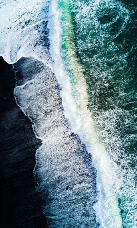 Reynisfjara Black Sand Beach 4k Wallpaper Waves Aerial View Ocean Iceland Nature 1332