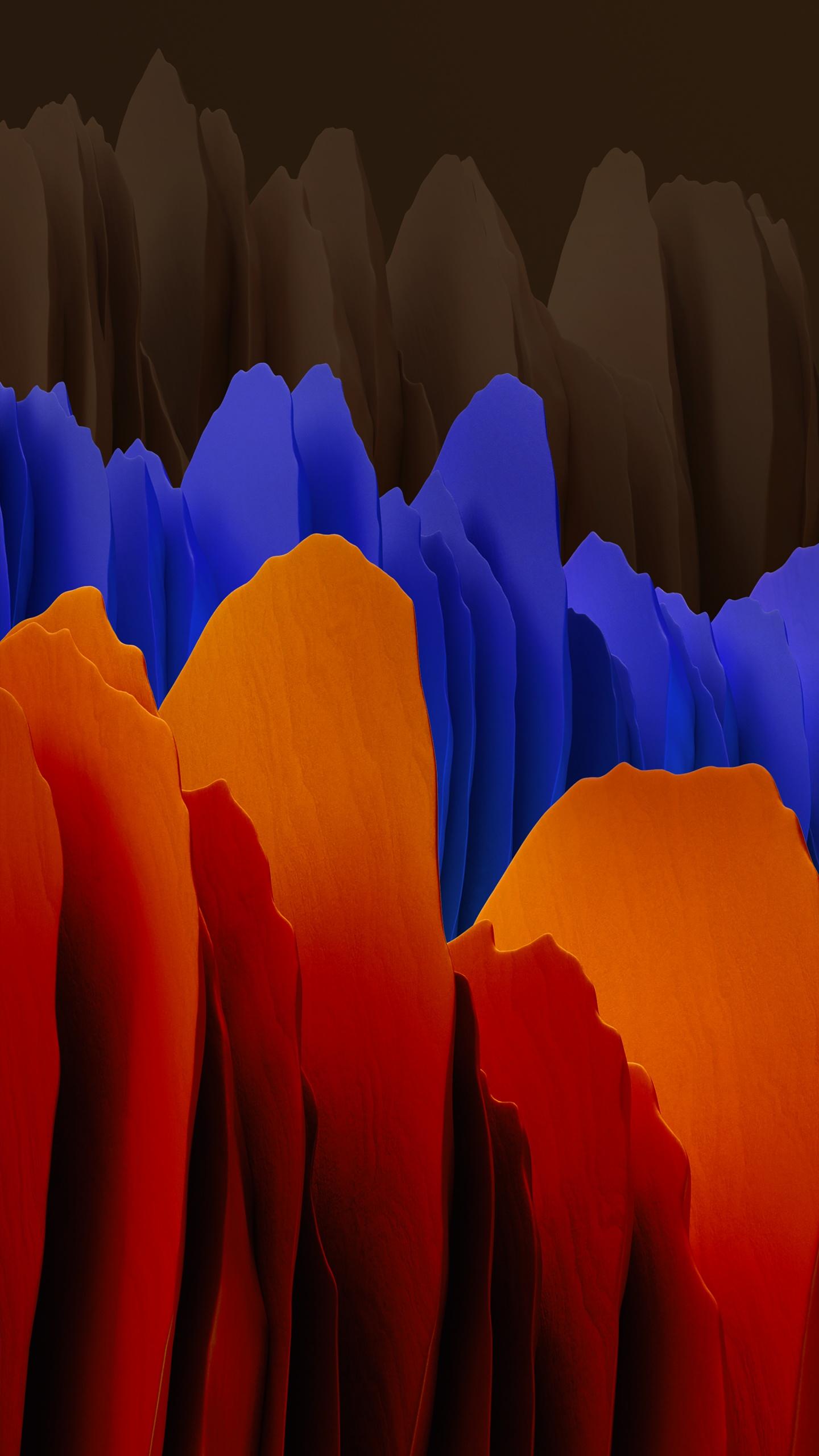 Samsung Galaxy Tab S7 4k Wallpaper Orange Blue Dark Stock Abstract 2282