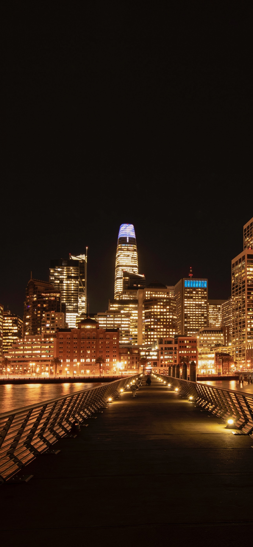 San Francisco City 4k Wallpaper Cityscape Black Background Night Time City Lights Skyscrapers World 3417