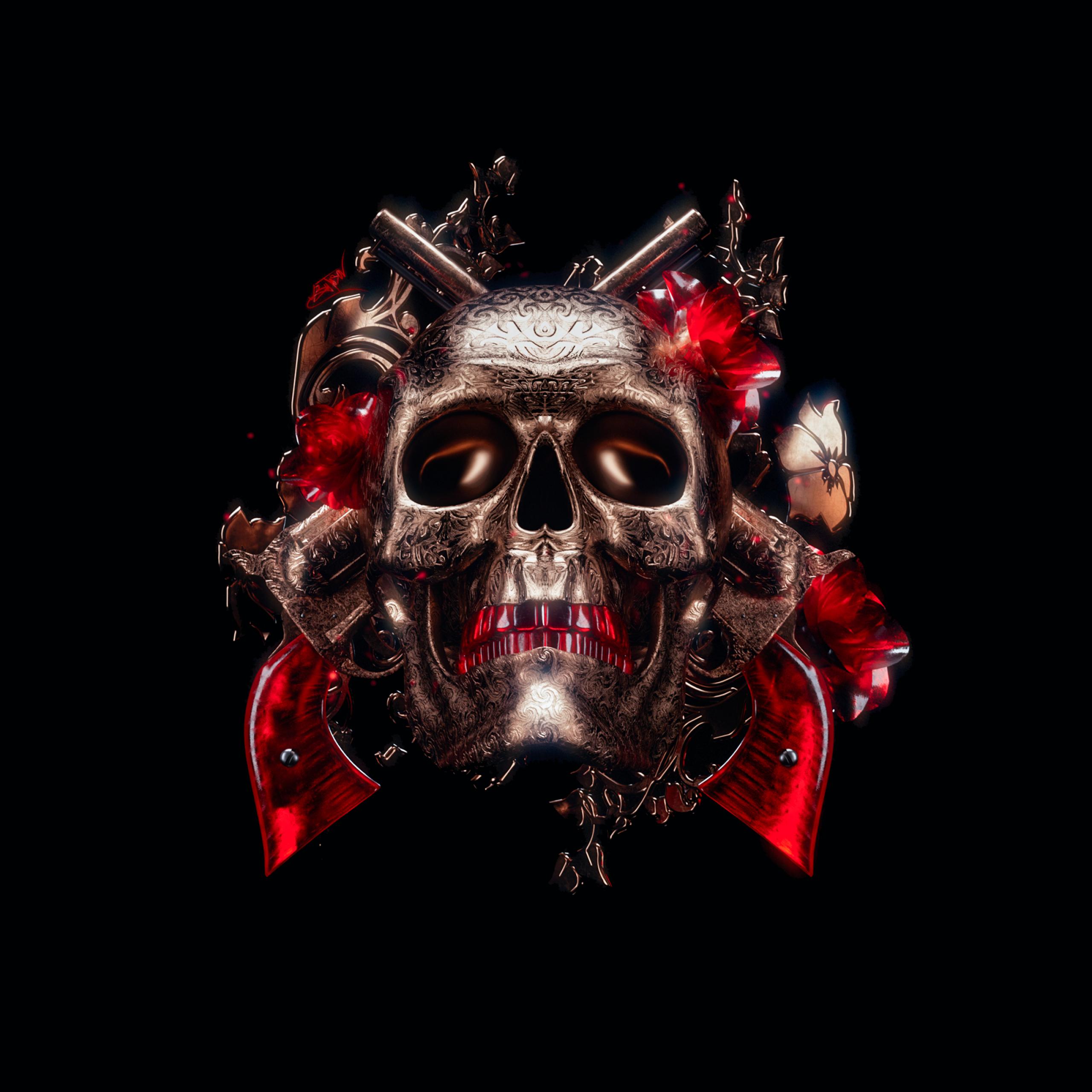 4K Wallpaper Skull, 3D, Black Background, Graphics CGI, #926