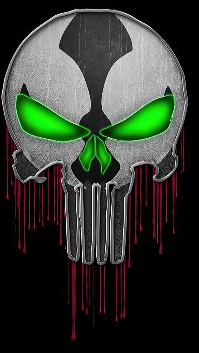 Spawn 4k Wallpaper Skull Punisher Black Background