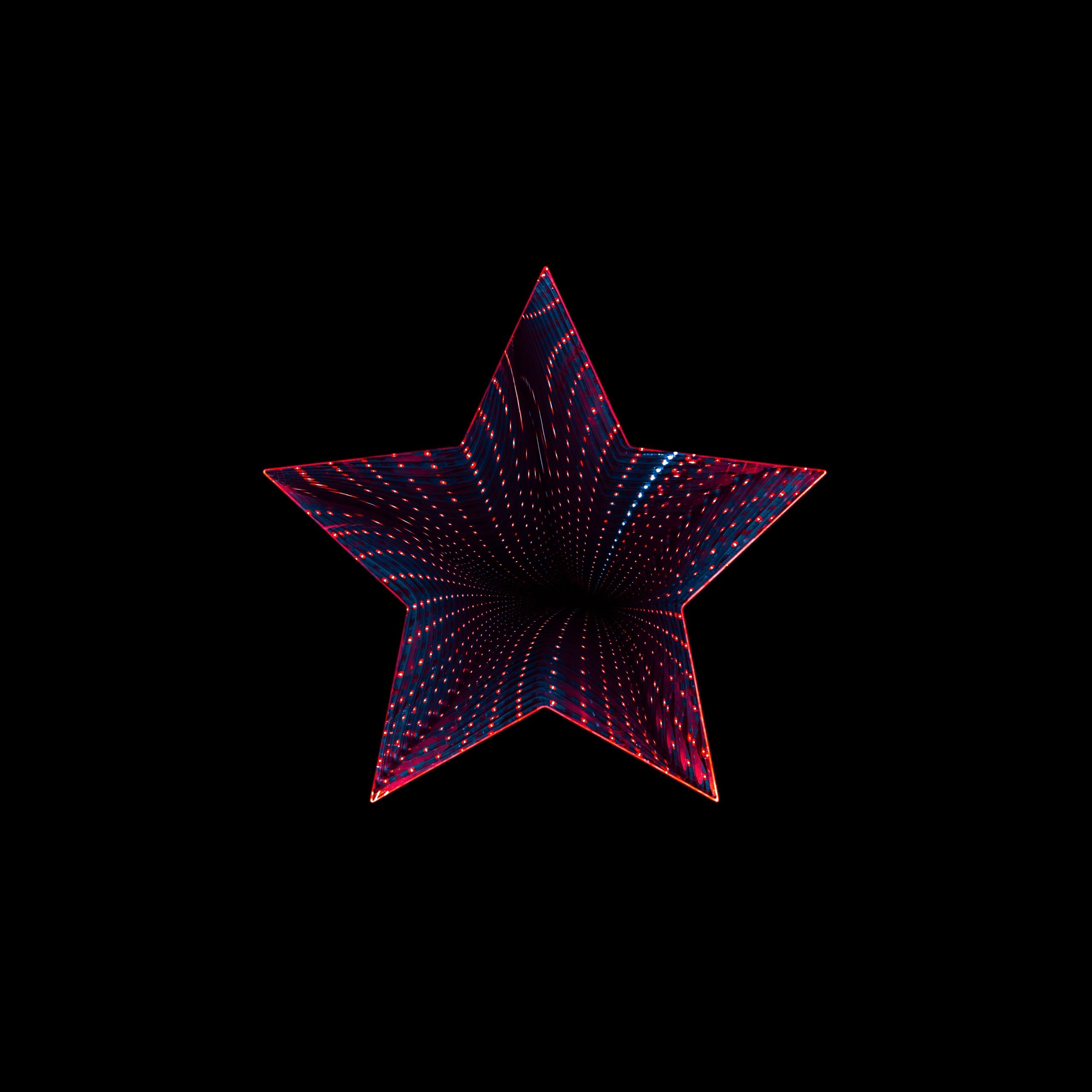 Star 4K Wallpaper, Neon, Black Background, 5K, 8K
