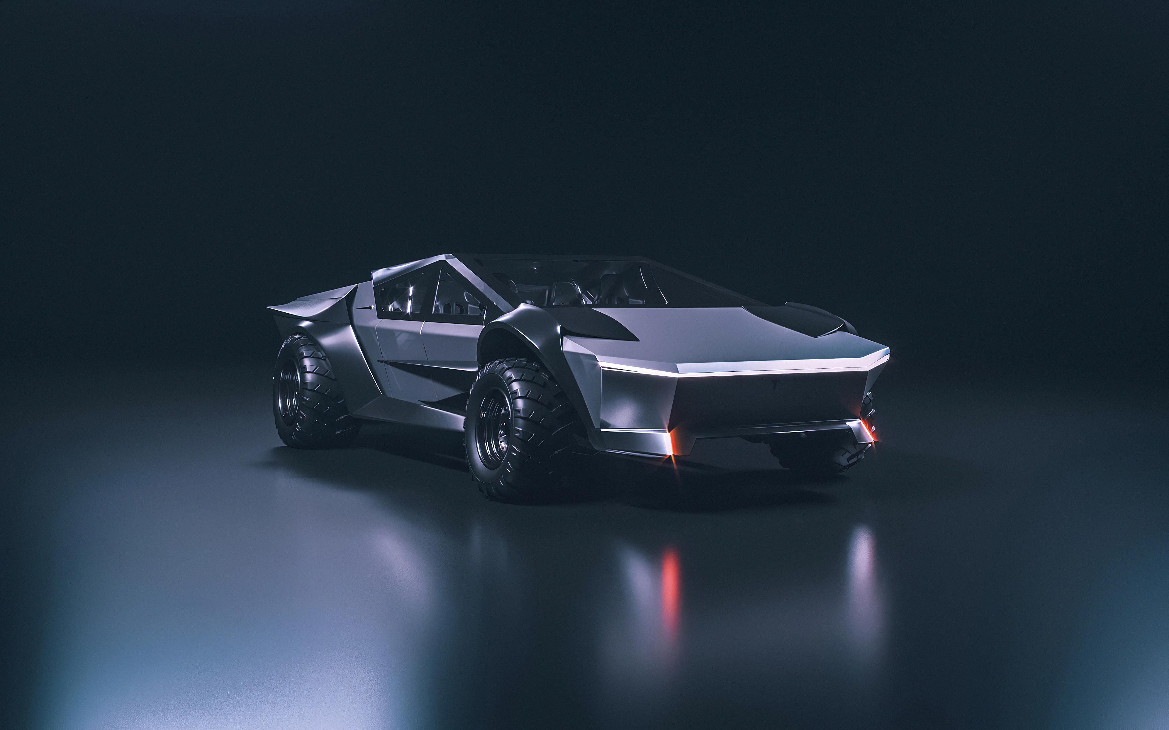 Tesla Cybertruck 4k Wallpaper Concept Cars Black Dark 882