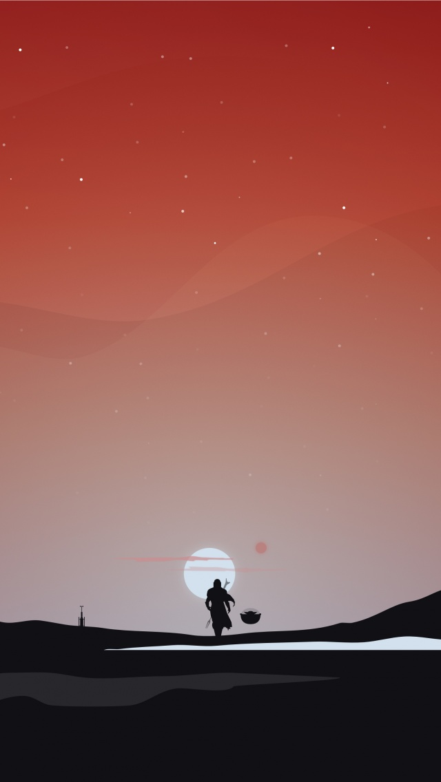 the mandalorian star wars dark red sky tv series 5k 640x1136 2312