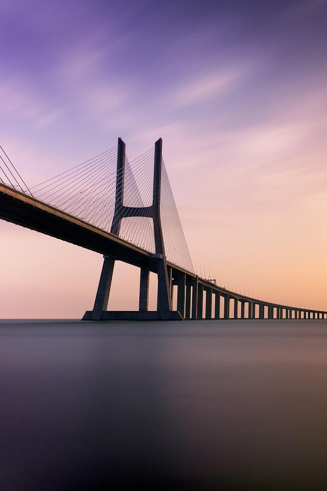 Vasco da Gama Bridge 4K Wallpaper Lisbon Portugal Tagus