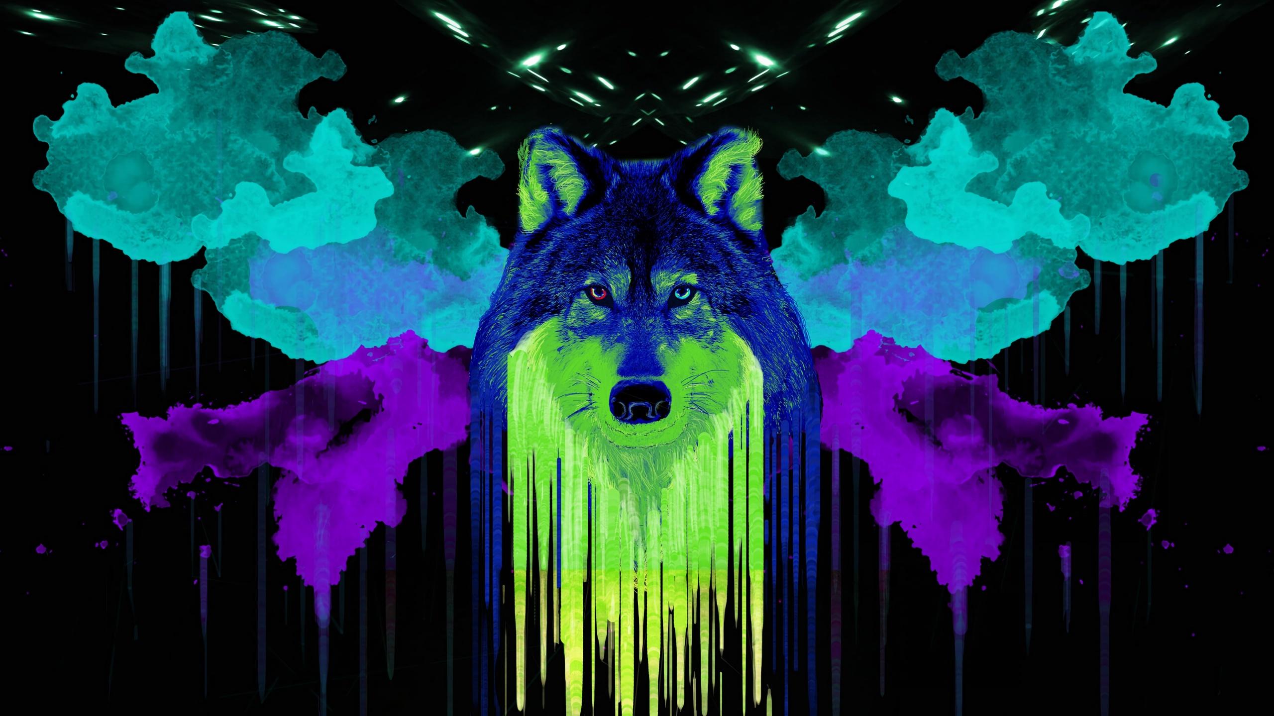 Wolf 4k Wallpaper Artwork Neon Black Background Watercolors Painting Graphics Cgi 2029