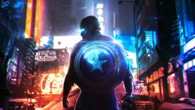 Cyberpunk 2077, Captain America, Neon, Concept Art