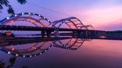 Dragon Bridge, Sunset, Dawn, Reflection, Arch bridge, Hàn River, Vietnam, 5K