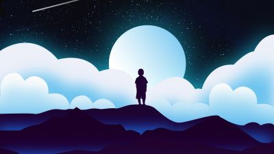 Boy, Kid, Alone, Silhouette, Moon, Night, Clouds, Illustration, Starry sky, 5K
