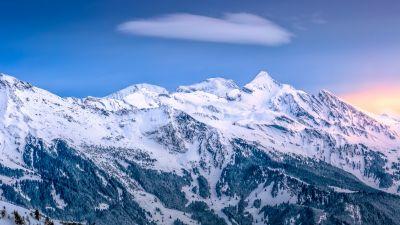 Mountains, Winter, Kleine Scheidegg, Mountain range, Glacier, Sunrise, Ice, Peak, Switzerland, 5K, 8K