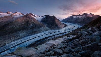 Bettmerhorn, Mountains, Snow, Winter, Bernese Alps, Aesthetic, Landscape, Scenic, Summit, Sunrise, Dawn, 5K, 8K