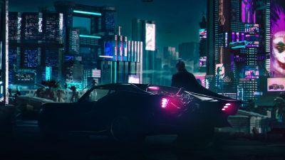 Batman, Batmobile, Cyberpunk, Neon