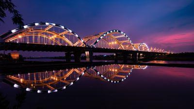 Dragon Bridge, City lights, Night, Reflection, Arch bridge, Hàn River, Vietnam, 5K
