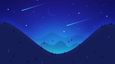 Landscape, Night, Moon, Falling stars, Mountains, Blue, Illustration, Aesthetic