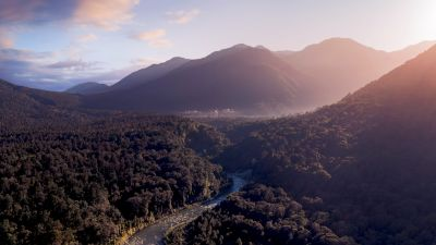 Fiordland National Park, Mountains, Sunrise, Forest, River, New Zealand