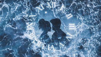 Lovers, Couple, Ocean, Clock, Surreal, Fantasy