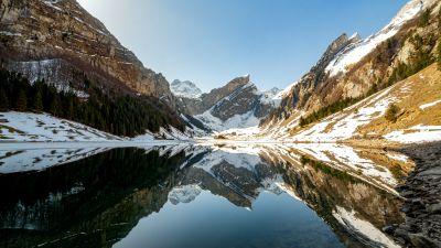 Seealpsee lake, Swis Alps, Mountain range, Reflection, Daytime, Lake, Winter, Switzerland, 5K