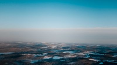 Landscape, Aerial view, Blue Sky, Horizon, Winter, Foggy, Snow