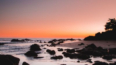 Rocky beach, Sunrise, Crescent Moon, Dawn