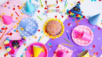 Happy Birthday, Birthday party, Birthday decoration, Cake, Colorful, 5K