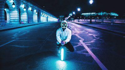 Man, LED mask, Lightsaber, Road, Tarmac, City lights, Night, Neon