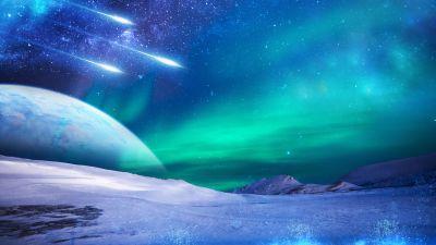 Northern Lights, Aurora sky, Iceland, Frozen, Winter, Cold, 5K