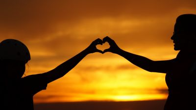 Love heart, Hands together, Silhouette, Lovers, Couple, Sunset, 5K