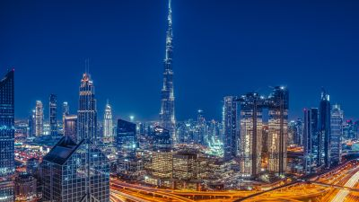 Burj Khalifa, Dubai, Skyscraper, Cityscape, Skyline, Modern architecture, Night, City lights, Metropolitan, Urban