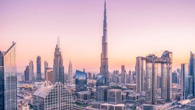 Burj Khalifa, Dubai, Skyscraper, Cityscape, Skyline, Modern architecture, Blue hour, Metropolitan, Urban