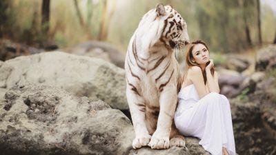 White tiger, Asian Woman, Friends, Wild, Dream