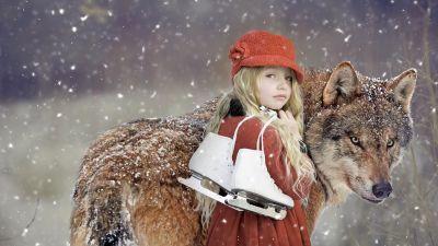 Cute Girl, Wolf, Snowfall, Winter, Pet, 5K