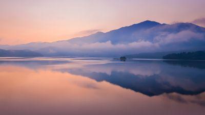 Mountain, Sunrise, Foggy, Lake, Reflection, Dawn, Stock